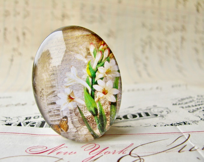 Amaryllis lily, Bella Donna, handmade glass oval cabochon from our Fabulous Florals collection, vintage flowers image, 25x18mm 18x25mm