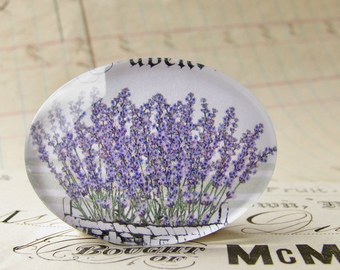 Lavender, Vintage Kitchen collection of handmade glass oval cabochons, spring, summer, horizontal 40x30mm 30x40mm, cooking, purple flower