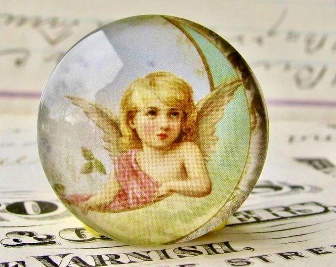 Victorian angel on the moon, winged cherub, mint, blue, handmade in this shop, glass oval angel cabochon, 25mm round 1 inch bottle cap size