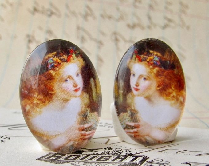 Pair of opposites for earrings, butterfly fairy, handmade glass oval cabochon, 25x18mm, artisan crafted in this shop, photo glass cabochon