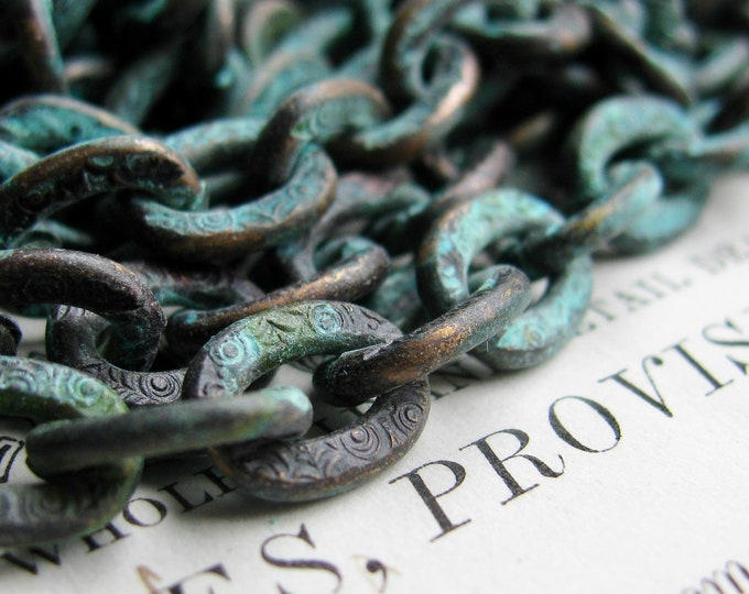 """Verdigris """"Tiffany"""" chunky chain, textured, weathered (1 foot) 10x7mm heavy cable chain, rustic blue green patina over black brass chain"""