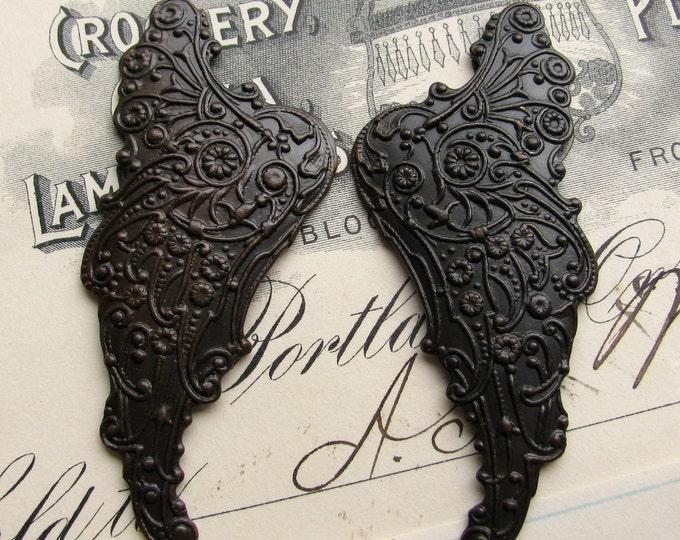 "Fallen Angel Brass Wings ""Archangel""  (2 black angel wings)  fairy wings, art nouveau wings, black angel wings, mythical fantasy"