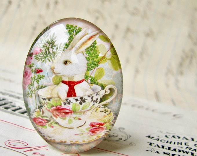 Bunny in a tea cup, handmade glass oval cabochon, 25x18mm or 40x30mm, artisan crafted in this shop, spring garden party, pink roses, rabbit