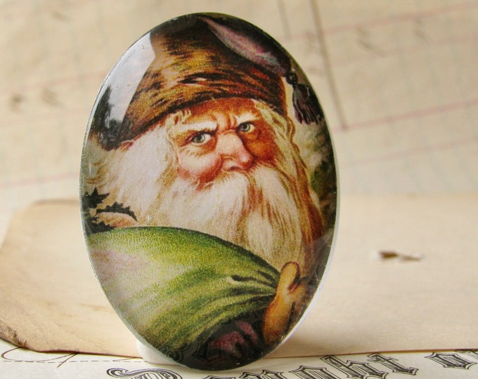 NEW! Victorian Father Christmas handmade glass oval cabochon, 40x30mm, winter holiday, vintage Santa, green, 30x40mm, traditional image
