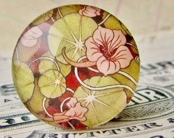 William Morris collection - pink green nasturtium vines cabochon, 25mm glass round cabochon, handmade in this shop, bottle cap 1 inch