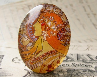 """From our Art Nouveau collection, Mucha's  """"Zodiac"""" print, Zodiaque, 1896, handmade cabochon, 40x30mm, glass oval face cabochon, orange"""