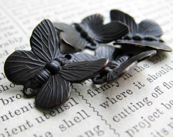 Black butterfly links, 14x18mm, black patina, 4 double connectors, winged insect, upturned wings, antiqued brass, black butterflies