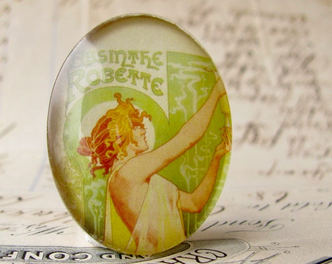 Vintage Absinthe ad by Alfonse Mucha, 40x30mm photo glass oval cabochon, green fairy, vintage Art Nouveau, Magical Maidens