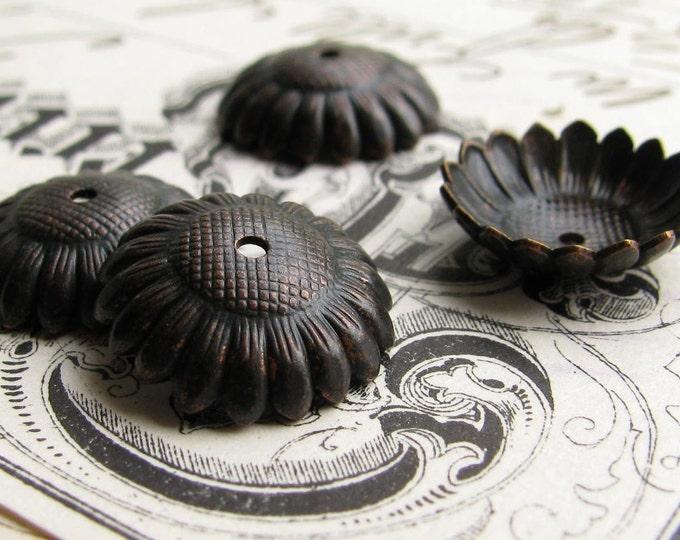 12mm Sunflower bead cap, black antiqued brass (4 bead caps) black bead cap, garden beadcap, made in the USA, lead nickel free