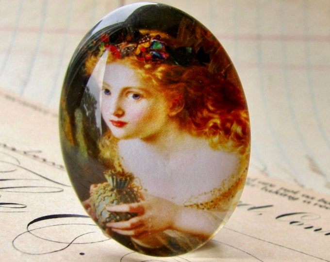 Butterfly fairy, handmade glass oval cabochon, 25x18mm or 40x30mm, artisan crafted in this shop