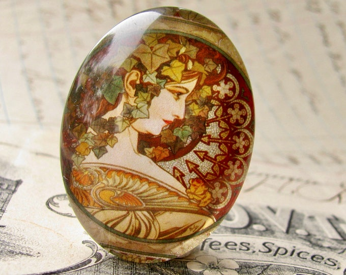 """Mucha's  """"Ivy"""" print, Le Lierre, from our Art Nouveau collection, handmade cabochon, 40x30 40x30mm, glass oval cabochon, brown, green"""