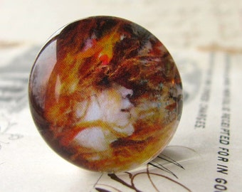 Flaming hair, autumn leaves, Art Nouveau woman, fall colors, handmade cabochon, photo glass cabochon, glass art cab, round 22mm, flat back