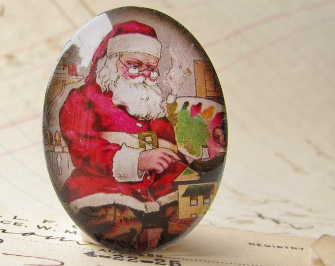 NEW! Vintage Santa Claus handmade glass oval cabochon, 40x30mm, Christmas holiday, nice naughty list, red green, 30x40mm, traditional image