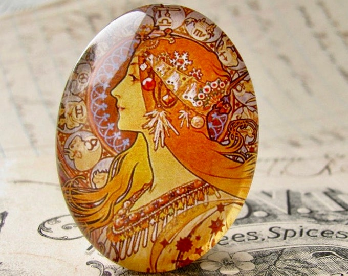 """Mucha's  """"Zodiac"""" print, Zodiaque, 1896, handmade, 40x30mm or 25x18mm, glass oval face cabochon, orange, from our Art Nouveau collection,"""