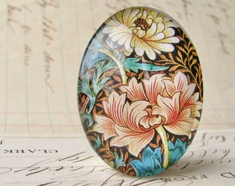 William Morris collection - orange yellow flower, 40x30mm glass oval cabochon, wallpaper, handmade in this shop, 40x30, Art Nouveau