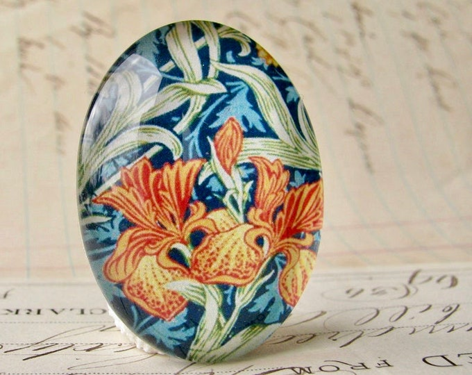 NEW! William Morris collection - orange iris, 40x30mm glass oval cabochon, wallpaper print, handmade in this shop, Art Nouveau history