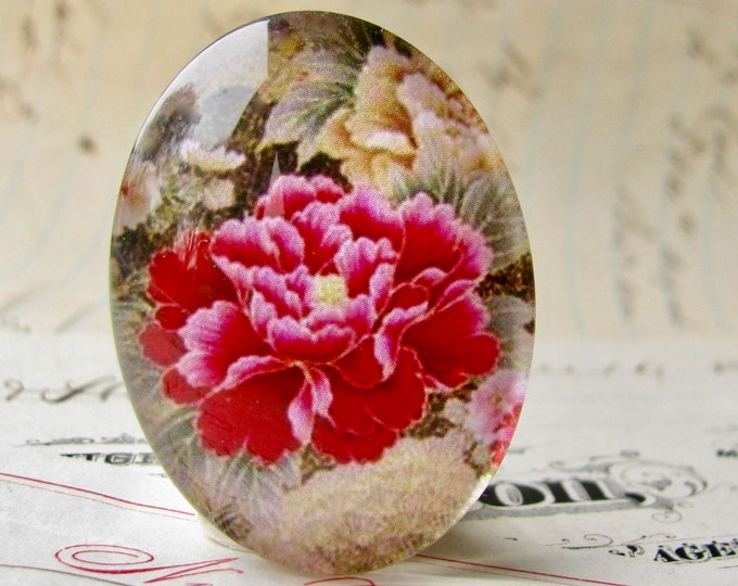 Magenta peony flower, handmade glass oval cabochon, from my Fabulous Florals collection, 40x30mm 30x40mm 40x30 30x40 40mm 30mm