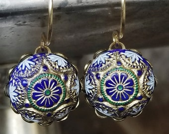 Vintage Mosaic Glass Earrings in Blue, Green and Gold - Vintage Assemblage