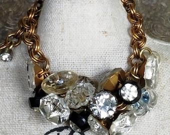 Vintage Button Love Bracelet - Vintage Assemblage