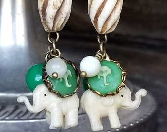 Vintage Cracker Jack Charm Elephant Earrings in Mother of Pearl and Jade