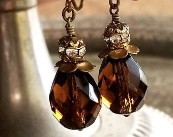 Topaz Faceted Glass Earrings with Flower Petal Brass Bead Caps - Vintage Assemblage