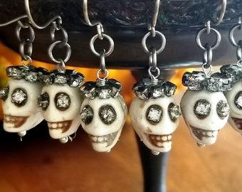 Skull and Rhinestone Crown Earrings Vintage Day of the Dead Halloween Earrings
