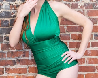 Vintage Inspired Maillot Bather in Emerald Green - Sz MED