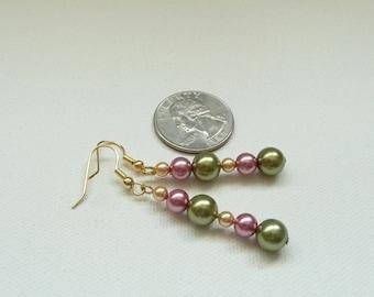 ndb-Olive, Rose and Ivory Glass Pearl Earrings Dangle Earrings