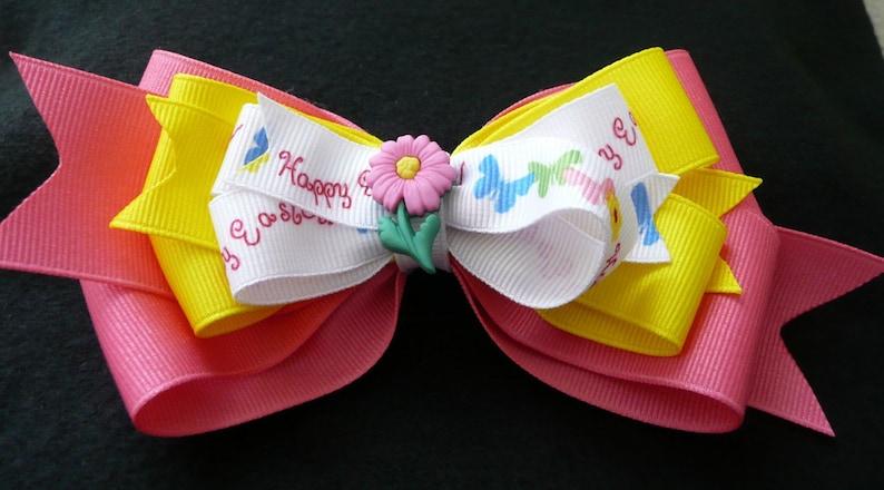 hhb103-Easter Hair Bow-Triple Layer