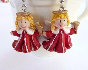 Blonde Bell Ringing (3D) Angel Dangle Earrings