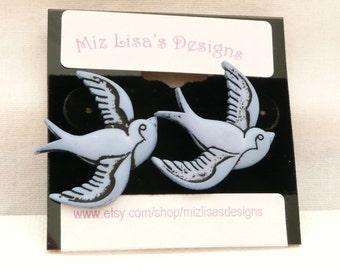 ns-Blue Bird in Flight Stud Earrings