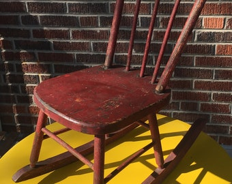 Antique Rocking Chair Childs Rocking Chair Upholstered Etsy
