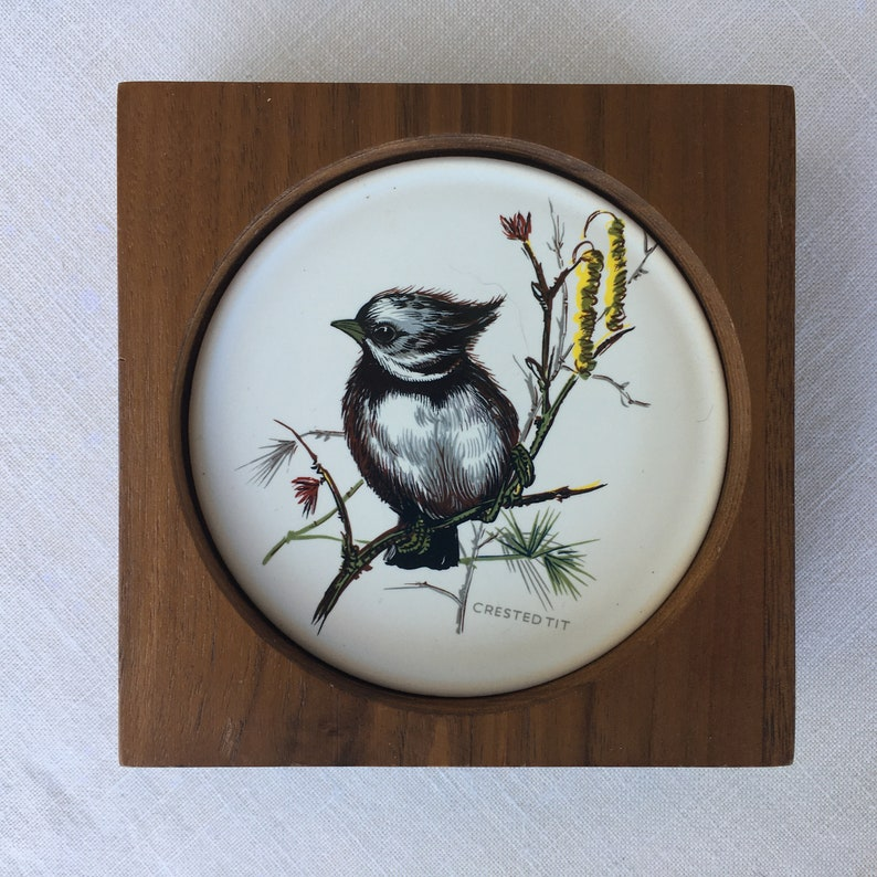 Set of Four Ceramic Bird Coasters with a Teak Box Caddy