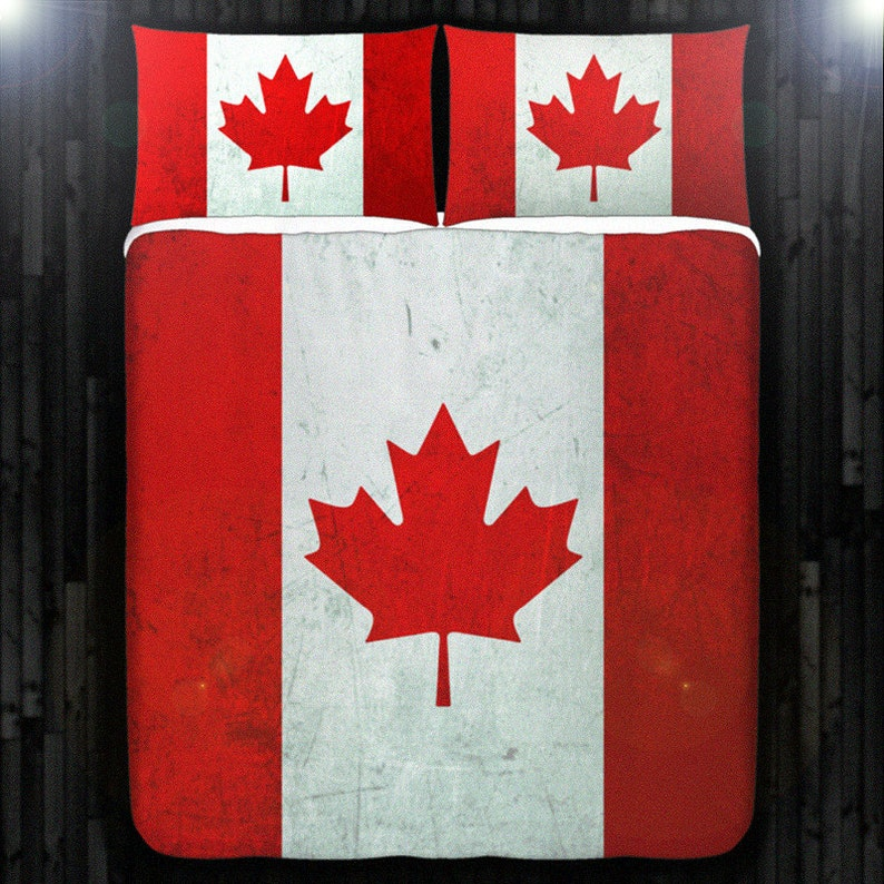7c2facc5f39efe Red maple leaf Canada flag Bedding Duvet Cover Queen