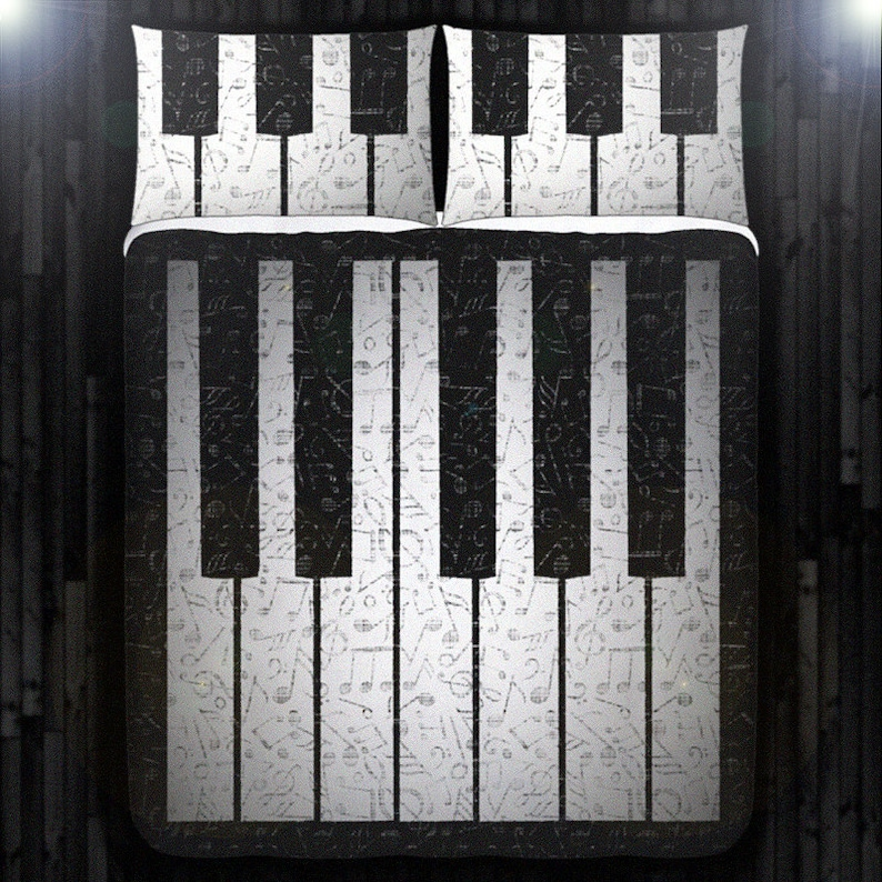 Music Note Key Piano Bedding Duvet Cover Queen Comforter Set Etsy