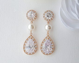 Bridal Earrings Rose Gold, Clear Cubic Zirconia, Teardrop Earrings, Rose Gold Crystal Pearl Earrings, Rose Gold Bridal Jewelry, Evita
