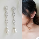 Bridal Earrings Long Pearl Drop Wedding Earrings Pearl Crystal Dangle Earrings Rose Gold Earrings Wedding Jewelry, Hayley