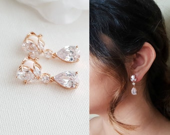 028444f58 Clip On Drop Earrings Wedding, Rose Gold Earrings, Gold Bridal Earrings,  Crystal Drop Earrings for Non Pierced Ears, Bridal Jewelry, Nicole
