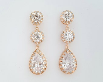 Rose Gold Bridal Earrings, Teardrop Wedding Earrings, Clear Cubic Zirconia, Crystal Statement Earrings, Rose Gold Wedding Jewelry, Evita