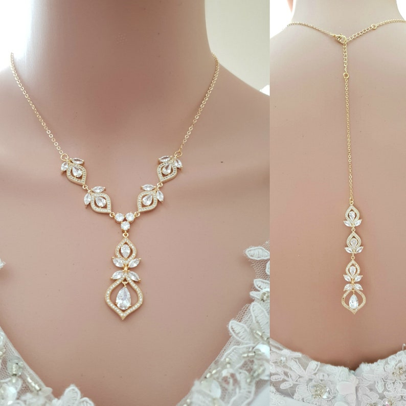 0ccd43b23903b Gold Backless Dress Necklace for Brides, Backdrop Necklace Bridal, Back  Jewelry for Wedding Dress, Meghan