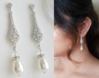 Bridal Earrings, Wedding Earrings Vintage Style, Long Pearl Drop Earrings Necklace Set, Rose Gold Earrings, Gold Bridal Jewelry Set, Lisa