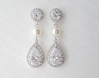 Crystal Bridal Earrings, Cubic Zirconia Teardrop Earrings, Swarovski Pearls, Crystal and Pearl Wedding Earrings, Bridal Jewelry, Evita