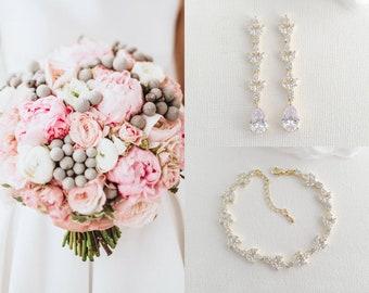 Gold Bridal Jewelry Set, Earring And Bracelet Set, Long Bridal Earrings, Cubic Zirconia Wedding Bracelet, Gold Bride Jewelry, Anya
