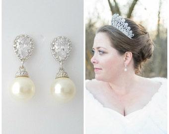 Pearl Bridal Earrings, Clip On Earrings, Bridal Jewelry, Crystal Wedding Earrings, Pearl CZ Earrings, Swarovski Pearls, Wedding Jewelry, Ava