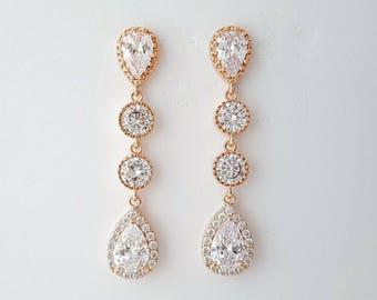 Rose Gold Bridal Earrings, Wedding Jewelry, Cubic Zirconia Teardrop Earrings, Gold, Crystal Wedding Earrings, Bridal Jewelry, Emma