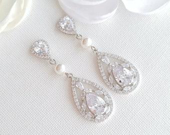 Vintage Style Pearl Crystal Bridal Earrings, Teardrop Wedding Earrings, Necklace Earring Set, Wedding Jewelry, Esther
