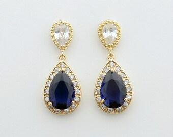 Gold Bridal Earrings Sapphire Blue Wedding Jewelry Something Blue Cubic Zirconia Teardrop Earrings Blue Wedding Earrings, Aoi