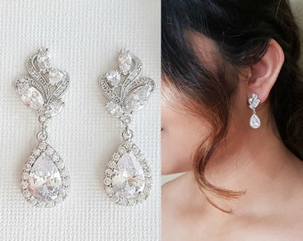 Wedding Earrings Crystal Drop Bridal Earrings Bridal Jewelry Clear Cubic Zirconia Teardrop Earrings Rose Gold Bridesmaid Earrings, Wavy