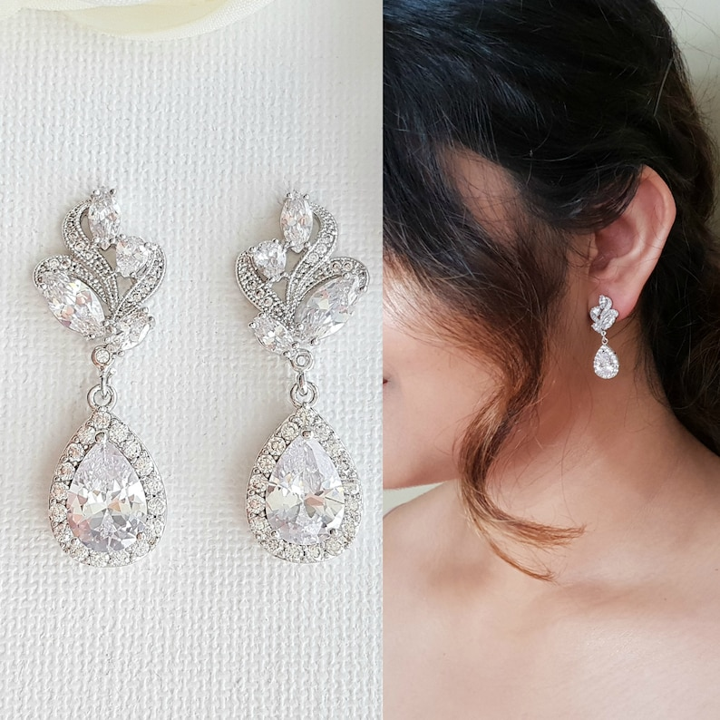 Wedding Earrings Crystal Drop Bridal Earrings Bridal image 0