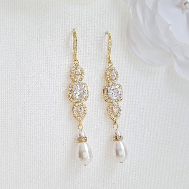 Drop Bridal Earrings Gold Wedding Earrings Pearl Drop Bridesmaid